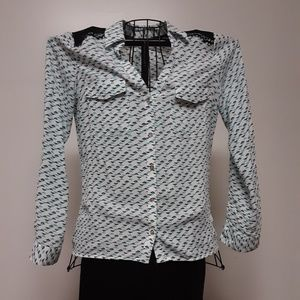 NWT CANDIES teal and black blouse